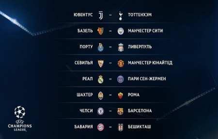 Мадрид против Парижа, Челси против Барселоны. Итоги жеребьевки 1/8 финала Лиги чемпионов.