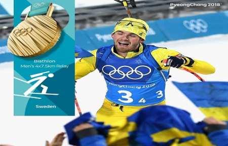 Шведские биатлонисты выиграли олимпийскую эстафету в Пхёнчхане.