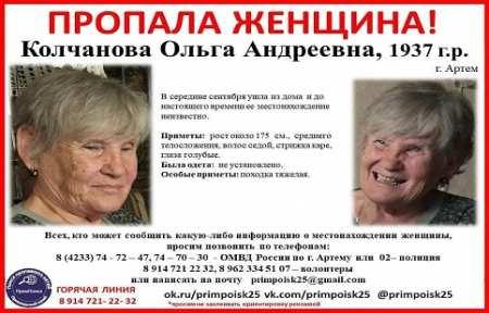 В Артеме пропала Колчанова Ольга Андреевна.